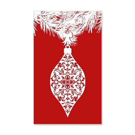 Red And White Damask Ornament 38.5 x 24.5 Wall Pee