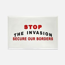 mx Stop The Invasion Rectangle Magnet