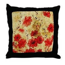 Red Grunge Flowers Throw Pillow