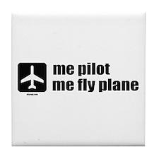 Me Pilot, Me Fly Plane Tile Coaster