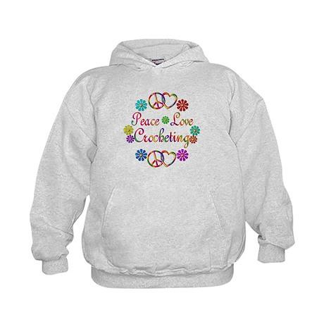 Peace Love Crocheting Kids Hoodie