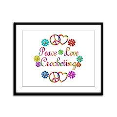 Peace Love Crocheting Framed Panel Print