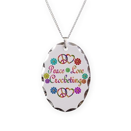 Peace Love Crocheting Necklace Oval Charm