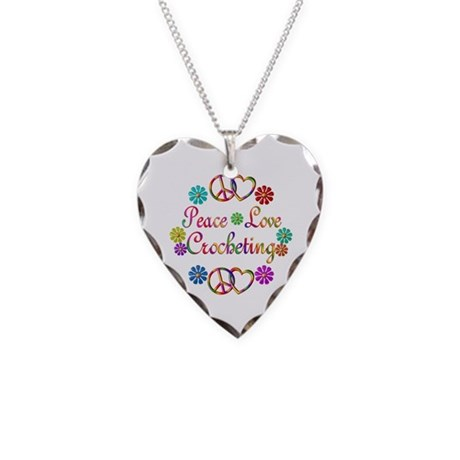 Peace Love Crocheting Necklace Heart Charm