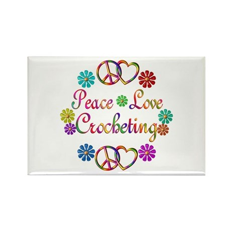 Peace Love Crocheting Rectangle Magnet (10 pack)