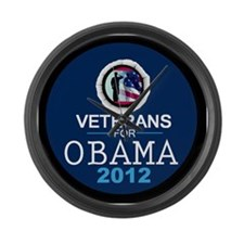 VETERANS for OBAMA Large Wall Clock