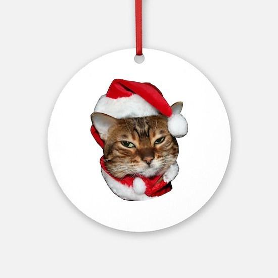 Santa Bengal Cat Ornament (Round)