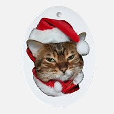 Santa Bengal Cat Ornament (Oval)