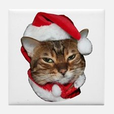 Santa Bengal Cat Tile Coaster
