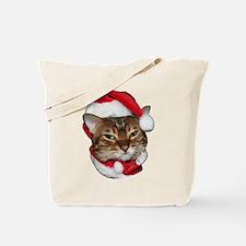 Santa Bengal Cat Tote Bag