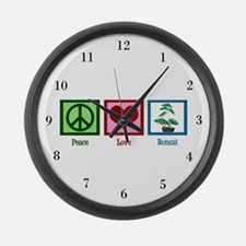 Peace Love Bonsai Large Wall Clock