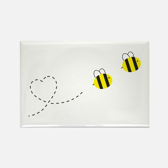 Bee in Love Rectangle Magnet (100 pack)