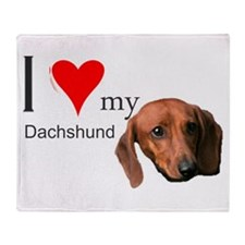 Funny I heart my dachshund Throw Blanket