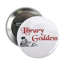 "Library Goddess Vintage 2.25"" Button"
