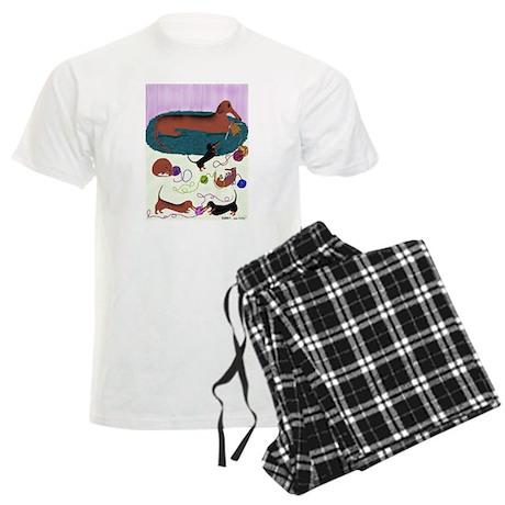 Knitting Dachshund Men's Light Pajamas