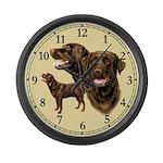 Chocolate Labrador Retriever Large Wall Clock