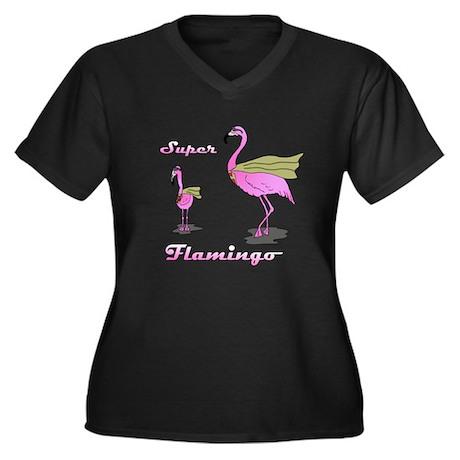 Super Flamingo Women's Plus Size V-Neck Dark T-Shi