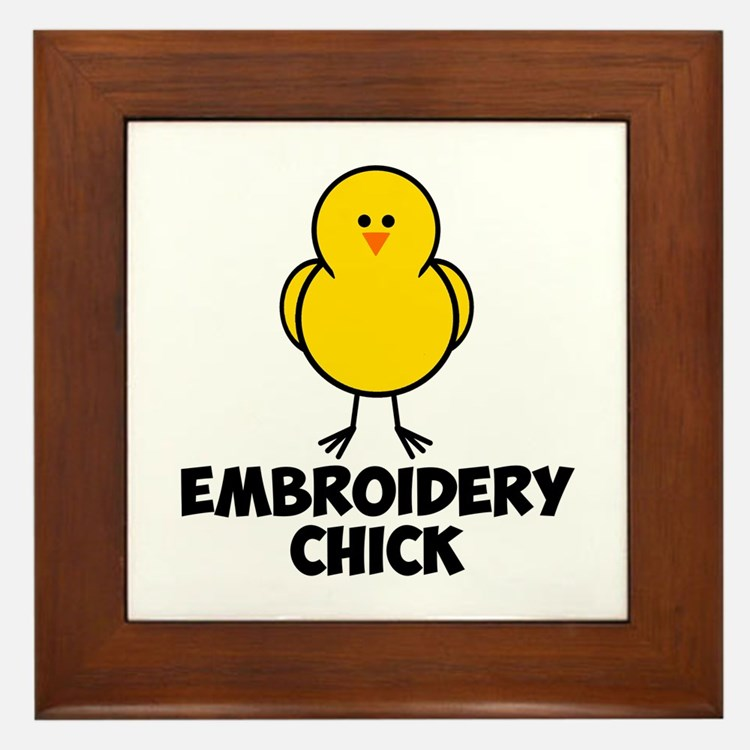 Embroidery Chick Framed Tile