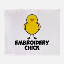 Embroidery Chick Throw Blanket