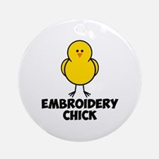 Embroidery Chick Ornament (Round)