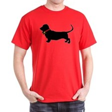 Christmas or Holiday Basset Hound Silhouette T-Shirt