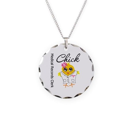 Medical Records Clerk Chick Necklace Circle Charm