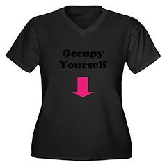 Occupy Yourself Women's Plus Size V-Neck Dark T-Sh