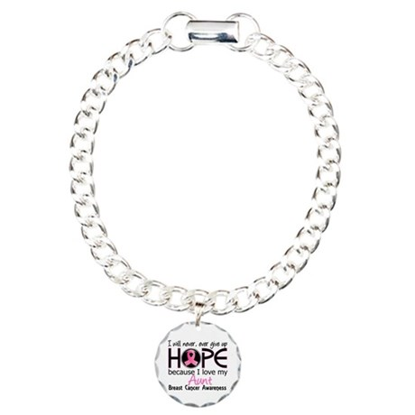 Hope For My 2 Breast Cancer Charm Bracelet, One Ch