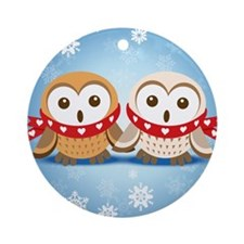 Winter Lovebirds Ornament (Round)