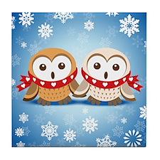 Winter Lovebirds Tile Coaster