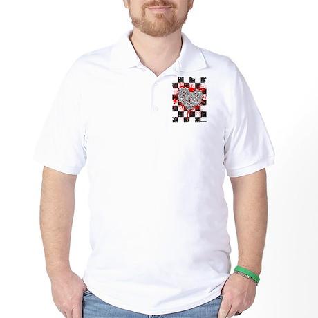 Emo Ska Skull Heart Golf Shirt