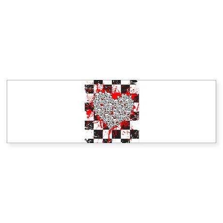Emo Ska Skull Heart Sticker (Bumper)