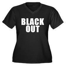 Black Out Women's Plus Size V-Neck Dark T-Shirt