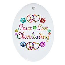 Peace Love Cheerleading Ornament (Oval)