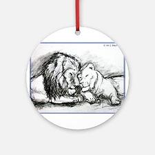Lions,wildlife, art, Ornament (Round)