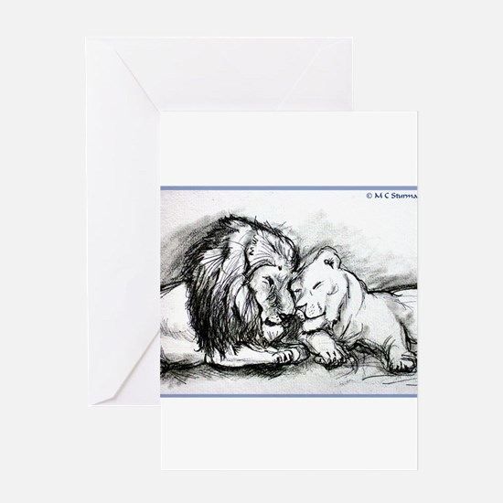 Lions,wildlife, art, Greeting Card