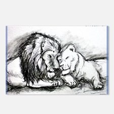 Lions,wildlife, art, Postcards (Package of 8)