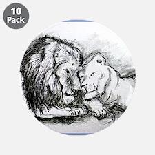 "Lions,wildlife, art, 3.5"" Button (10 pack)"