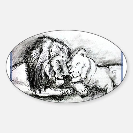 Lions,wildlife, art, Sticker (Oval)