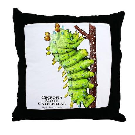 Cecropia Moth Caterpillar Throw Pillow