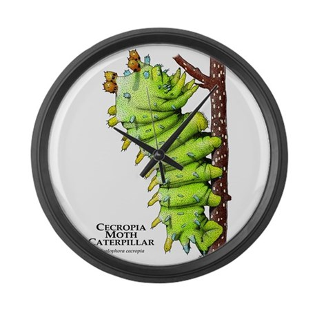 Cecropia Moth Caterpillar Large Wall Clock