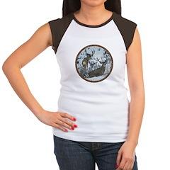 Buck deer in snow Women's Cap Sleeve T-Shirt