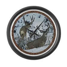 Buck deer in snow Large Wall Clock