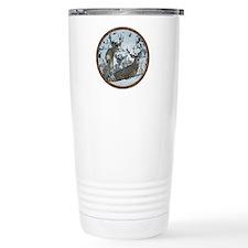 Buck deer in snow Travel Mug