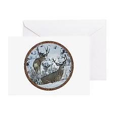 Buck deer in snow Greeting Card