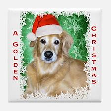 Golden Christmas Tile Coaster