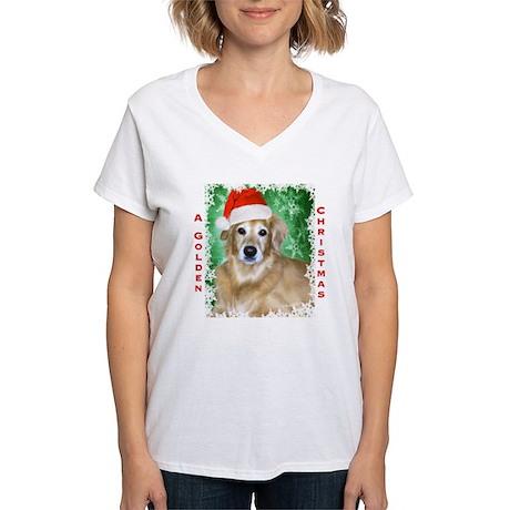 Golden Christmas Women's V-Neck T-Shirt