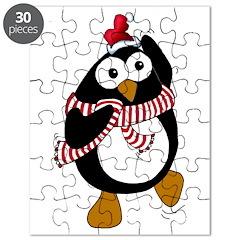 Cartoon Christmas Penguin dan Puzzle
