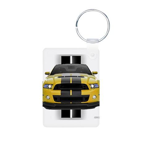 New Mustang GT Yellow Aluminum Photo Keychain