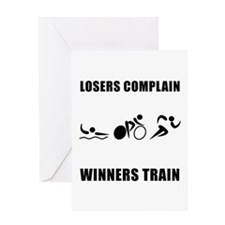 Triathlon Winners Train Greeting Card